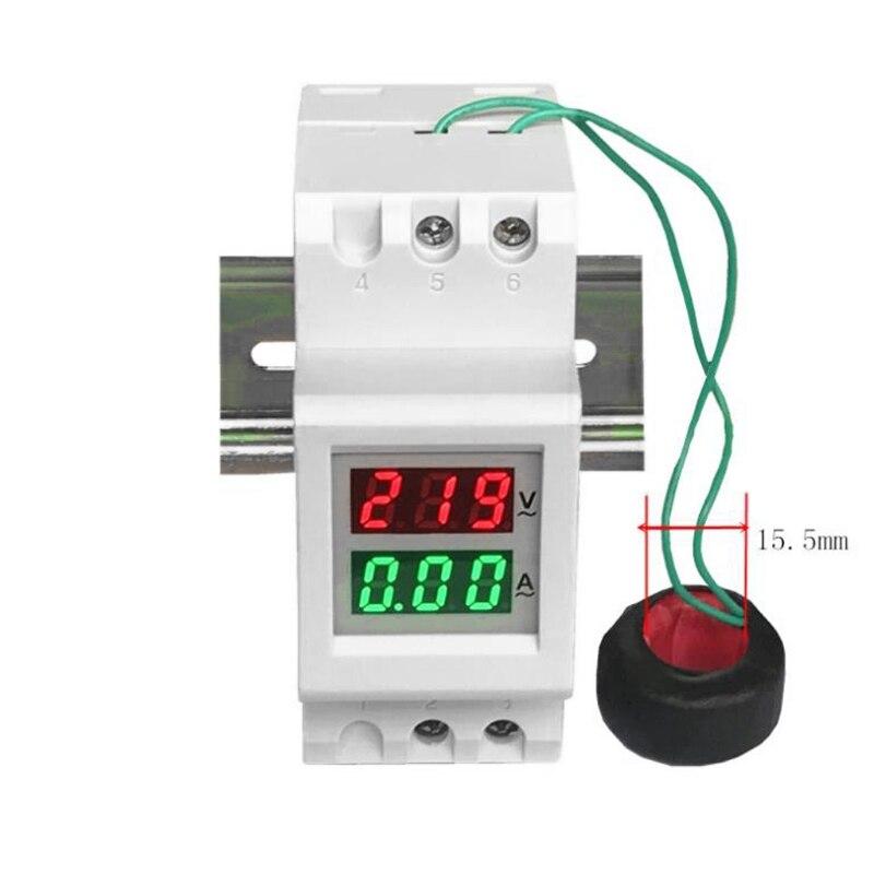 Amperímetro duplo do voltímetro do medidor de corrente da tensão do diodo emissor de luz do trilho do ruído de 2 p 36mm ac 80-300 v 250-450 v 0-100a