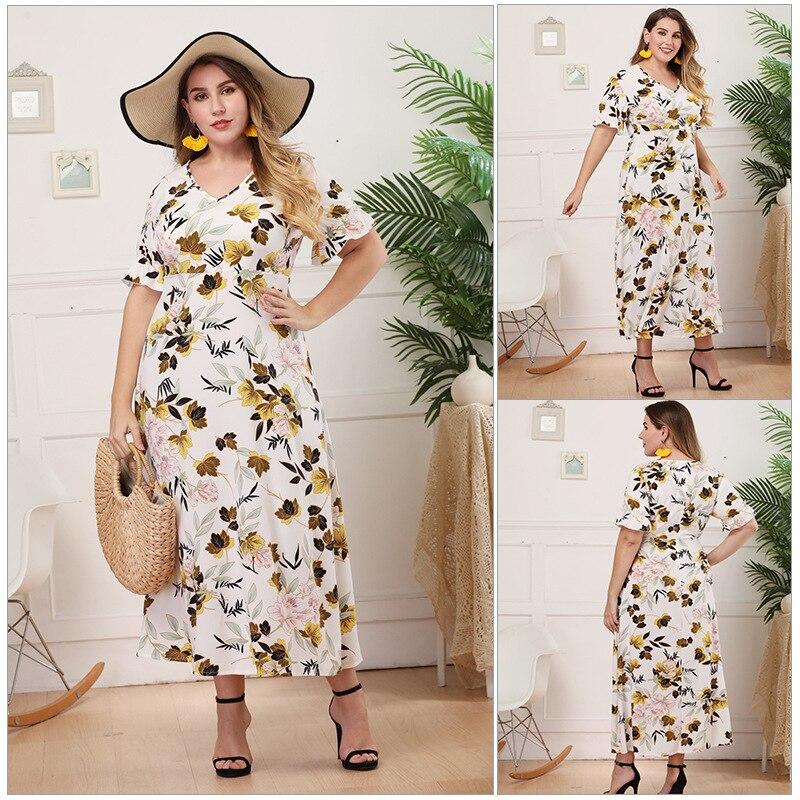 Colores de moda de talla grande 3xl 4xl eléctrica de gasa floral fruncido bajo skater vestido maxi vestido madi