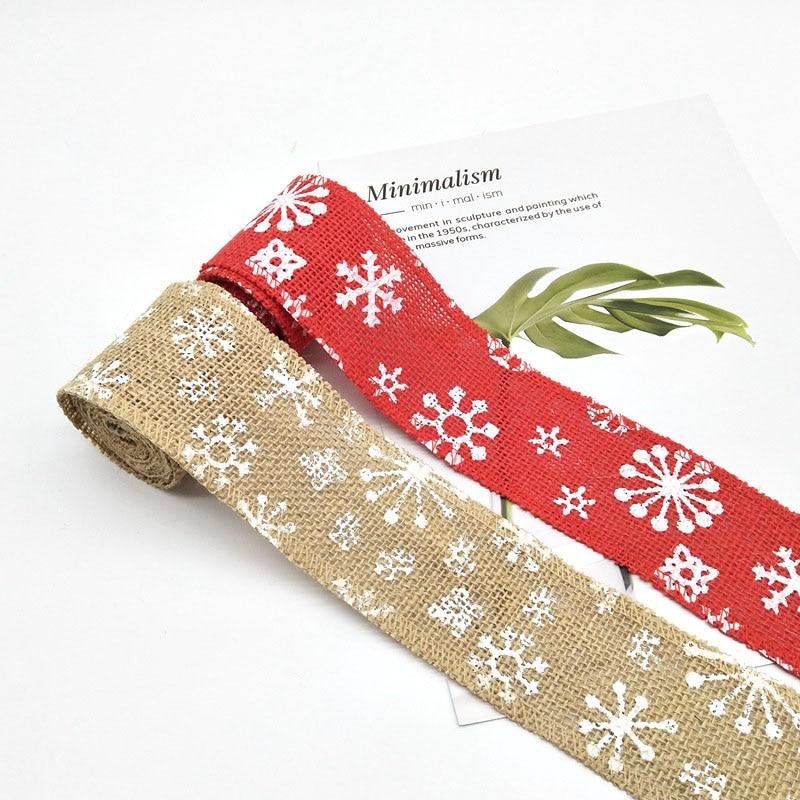 2m * 6cm copo de nieve ciervo árbol de Navidad yute arpillera encaje Hessian cáñamo Navidad cinta encaje costura decoración de tela para boda DIY artesanía