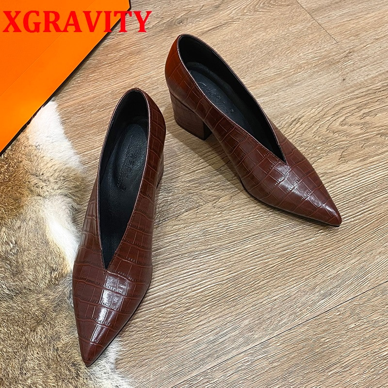 XGRAVITY التمساح نمط مصمم خمر مساء أحذية السيدات الأزياء وأشار اصبع القدم V قطع امرأة أحذية عالية الكعب مضخات مثير C325