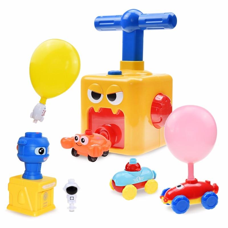 Воздушный шар, инерционная машинка, Забавные Игрушки для раннего развития, дошкольные Обучающие научные игрушки с ручным насосом для возду...