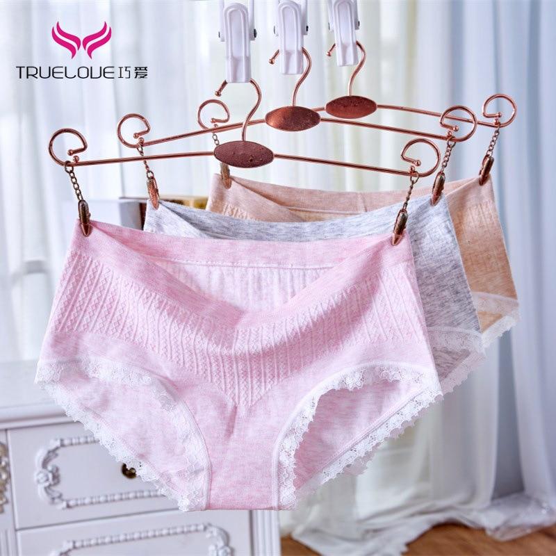 Ropa interior de algodón de color elástico sin costuras de encaje sexy para chicas bragas triangulares