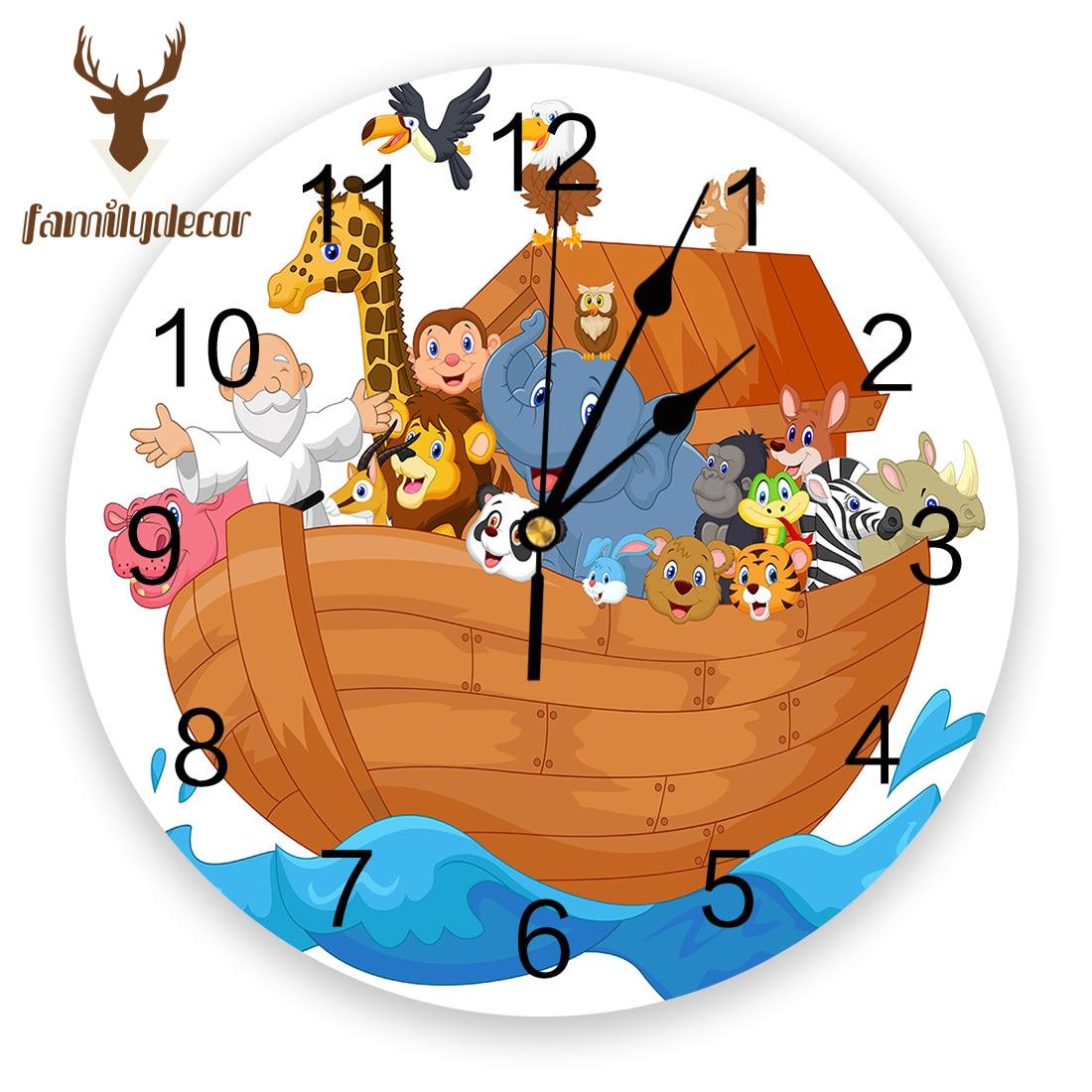 NoahS Ark Barco de personajes de dibujos Animal PVC Reloj de pared diseño moderno decoración del hogar dormitorio silencioso Reloj de pared para sala de estar