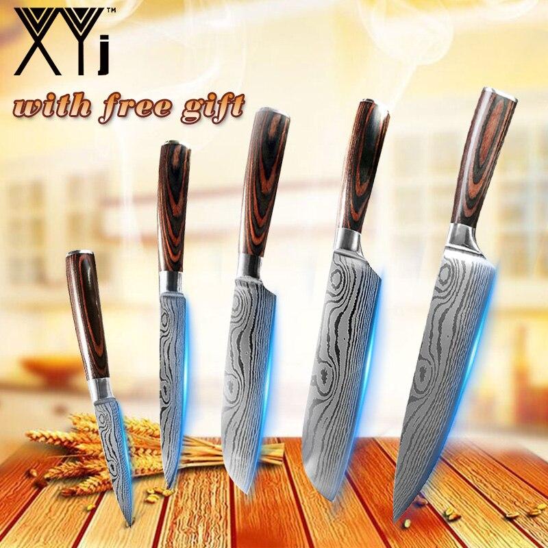 """Juego de cuchillos japoneses de 5 uds, juego de cuchillos de acero inoxidable 3,5 """"5"""" 5 """"7,5"""" 8 """", cuchillos de cocina Santoku, herramientas de cocina para cortar carne"""