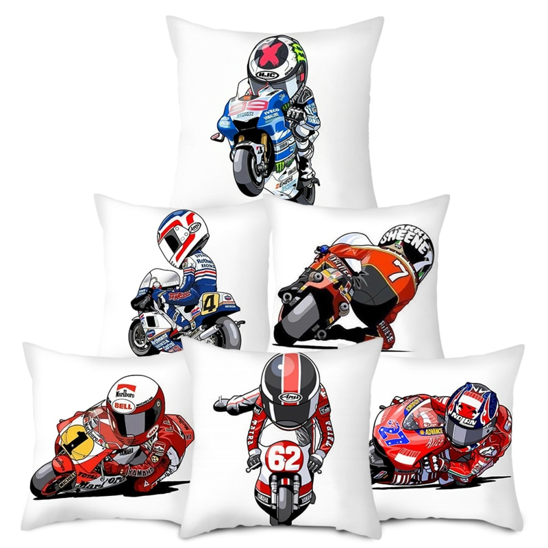 45x45 Motorcycle Styling Pattern Style Peach Skin Cushion Cover for Bed Pillows Cases for Sofa Covers for Home Living Decoration