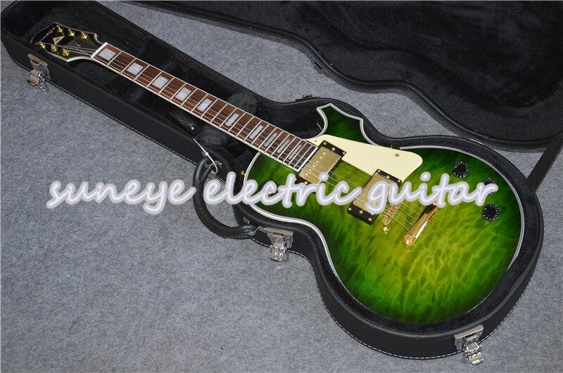 Suneye-golpeador de crema de Guitarra eléctrica personalizado, acabado acolchado verde, funda de...