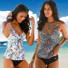Tankini maillot de bain femmes 2020 femmes maillots de bain dos nu Bikinis Tankini taille haute licou profond V plage maillot de bain grande taille 5XL