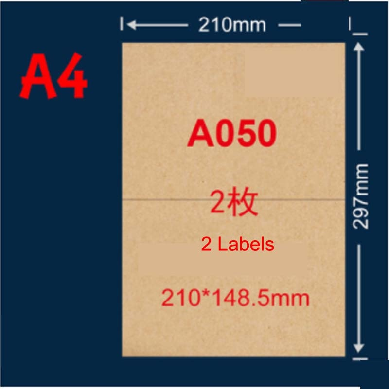 10 SheetsA4 Kraft Brown Sticker Paper Label Sheets, Laser/Inkjet Printing ,Ribbed, Craft Paper Labels