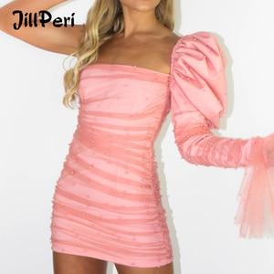 JillPeri Women Slash Neck One Shoulder Ruched mini Dress Fashion Pearl Mesh Puff Sleeve Celebrity Outfit Short Pink Party Dress