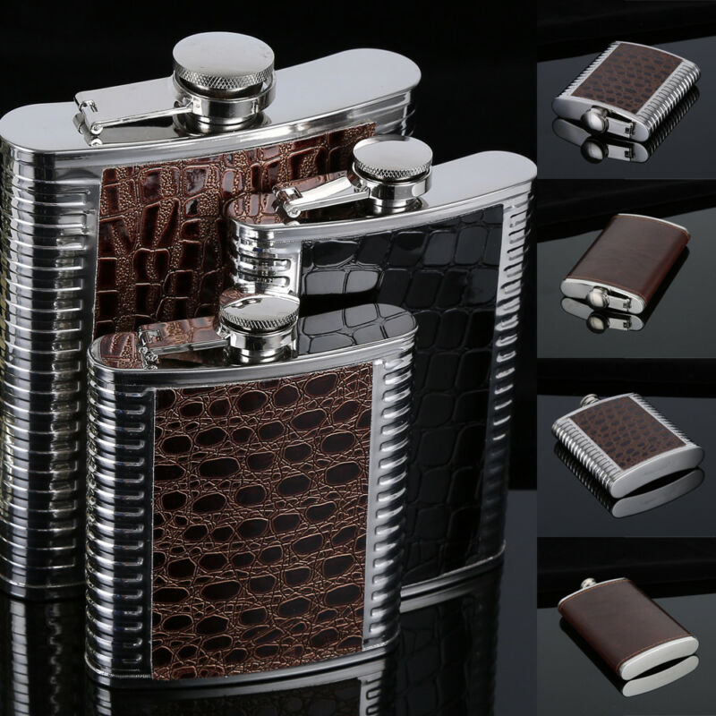 Petaca portátil de 6-9 oz de acero inoxidable para licor, Whisky, tapón de Alcohol, embudo, taza para beber, frasco de cadera