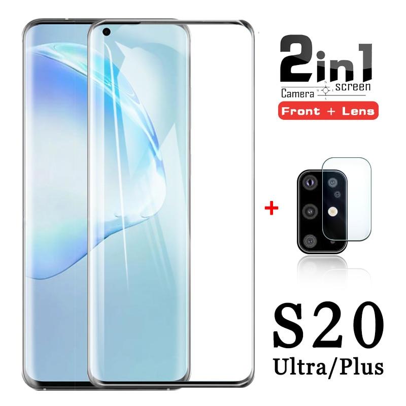 3d s20 proteção de vidro para samsung galaxy s 20 ultra plus filme temperado s20plus s20ultra lente da câmera protetor de tela 20s 5g 9h