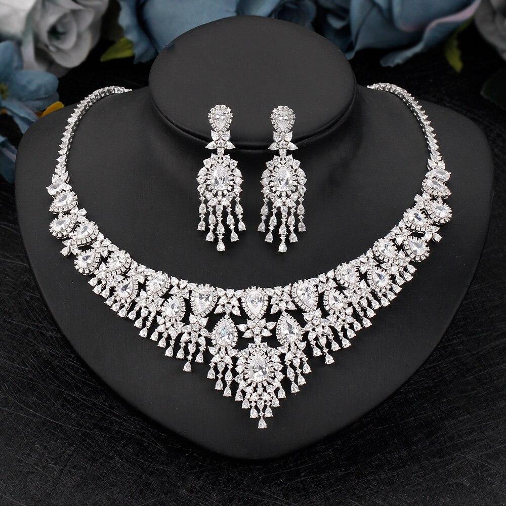 العصرية الفاخرة 2 قطعة المرأة مجموعة مجوهرات ل حفل زفاف زركون جميلة الزفاف قلادة أقراط مجوهرات اكسسوارات