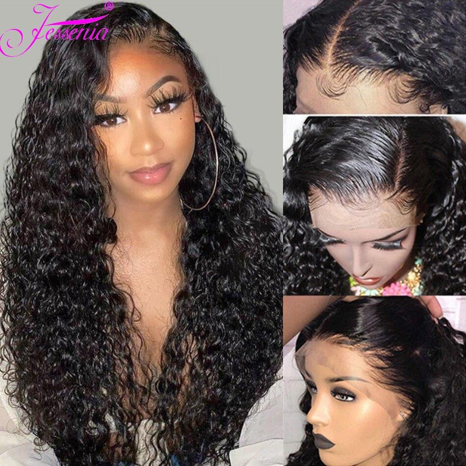 13X4, peluca frontal de encaje de pelo humano, peluca de cabello corto con ondas de agua, peluca de encaje brasileño, densidad de cabello 150% Remy, peluca de 8-24 pulgadas