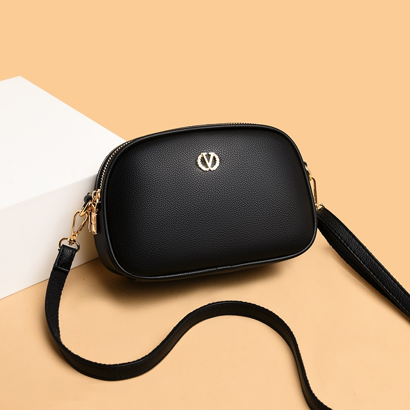 Small Black Shoulder Bags for Women Luxury Pu Leather Crossbody Bag Lychee Pattern Handbags Ladies Brand Designer Messenger Bag