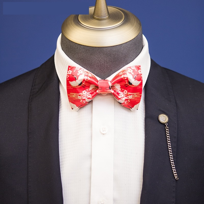Fashion Big Red Fairy Crane Chinese Style Print Bow tie For Men Great Great For Party Groom Wedding  Ties