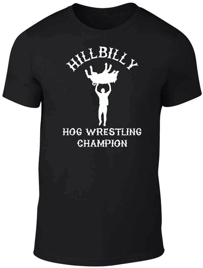 Hillbilly Hog Wrestling Champ camiseta divertida Comic Lucha Libre Redneck clásico único Streetwear Harajuku camiseta de ocio