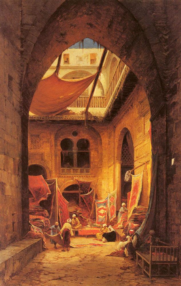 Pintura a Óleo Comerciantes de Tapete Hermann David Solomon Corrodi Repro Árabe