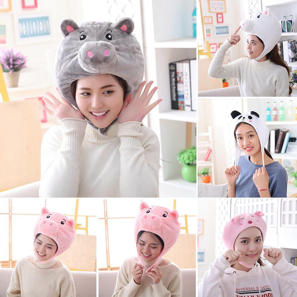 Cute Panda Animal Earflap Beanie Cap Hat Head Ear Warmer Cosplay Photo Props gift for children On Christmas Costume Warm Fluffy