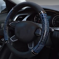 38cm universal auto interior styling auto car steering wheel cover universal leather crocodile pattern car wheel cover blue