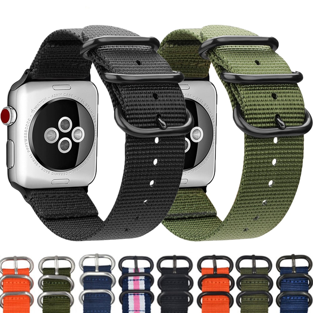 sport nylon fabric watch band for apple watch 38mm 42mm strap soft watch loop for iwatch 5 4 3 2 1 watchband for iwatch bracelet Hot Sell Nylon Watchband For Apple watch band 44mm 40mm iWatch band 42mm 38mm Sport bracelet strap for Apple watch 4 3 5 SE 6