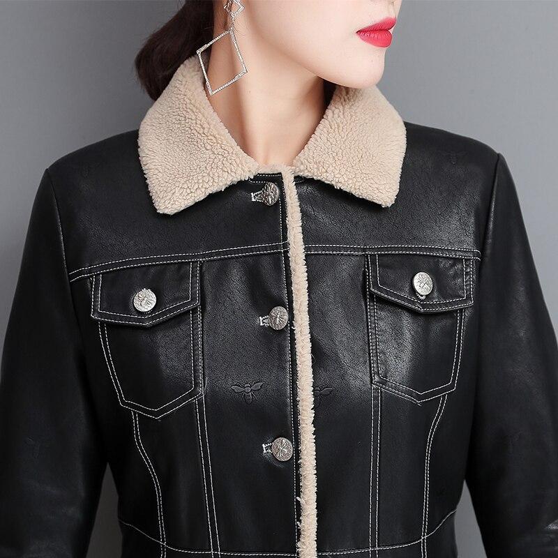 Autumn Women Leather Fur Jacket Winter Plus Size 4XL Thick Warm Long Fur Coat Women Fur Leather Jacket Fashion Leather Overcoat enlarge