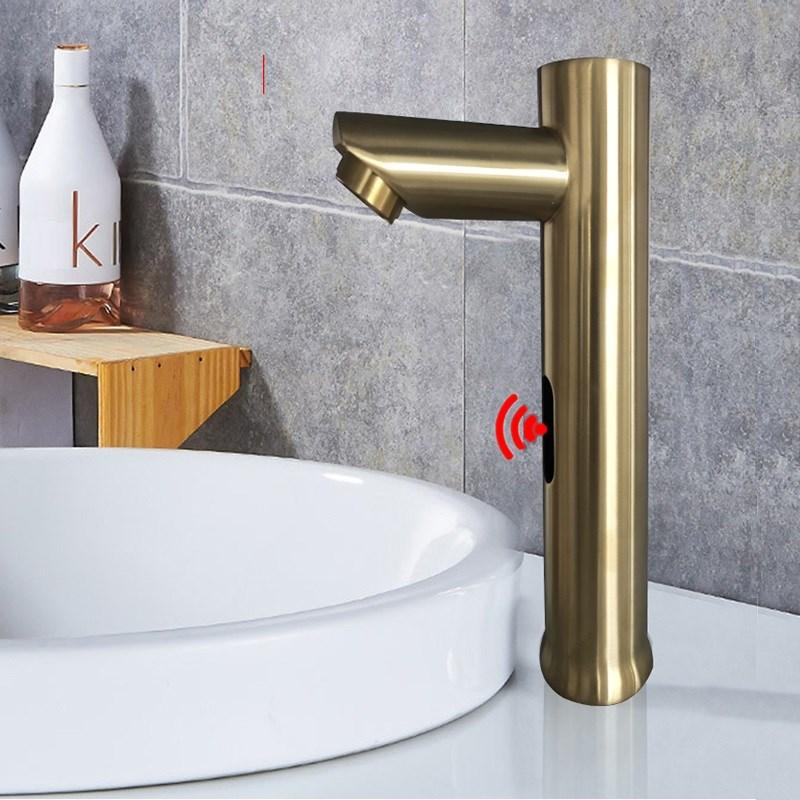 MTTUZK montado cubierta oro Sensor automático de bronce grifo baño cuenca redonda sin contacto por infrarrojos grifo frío caliente grifos