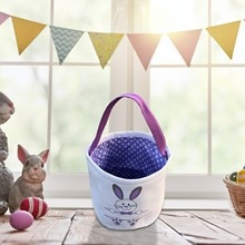Festival Party Supply Creative Easter Basket Holiday Rabbit Bunny Printed Canvas Gift Carry Candy Ba