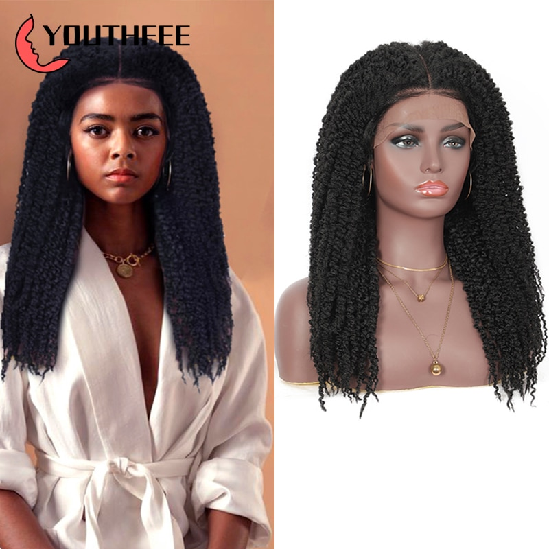 """Braided Wigs Synthetic Lace Front Wig Youthfee 4x4 Lace 21"""" Free Part Passion Braid Wigs with Baby Hair for Women Lace Front Wig"""