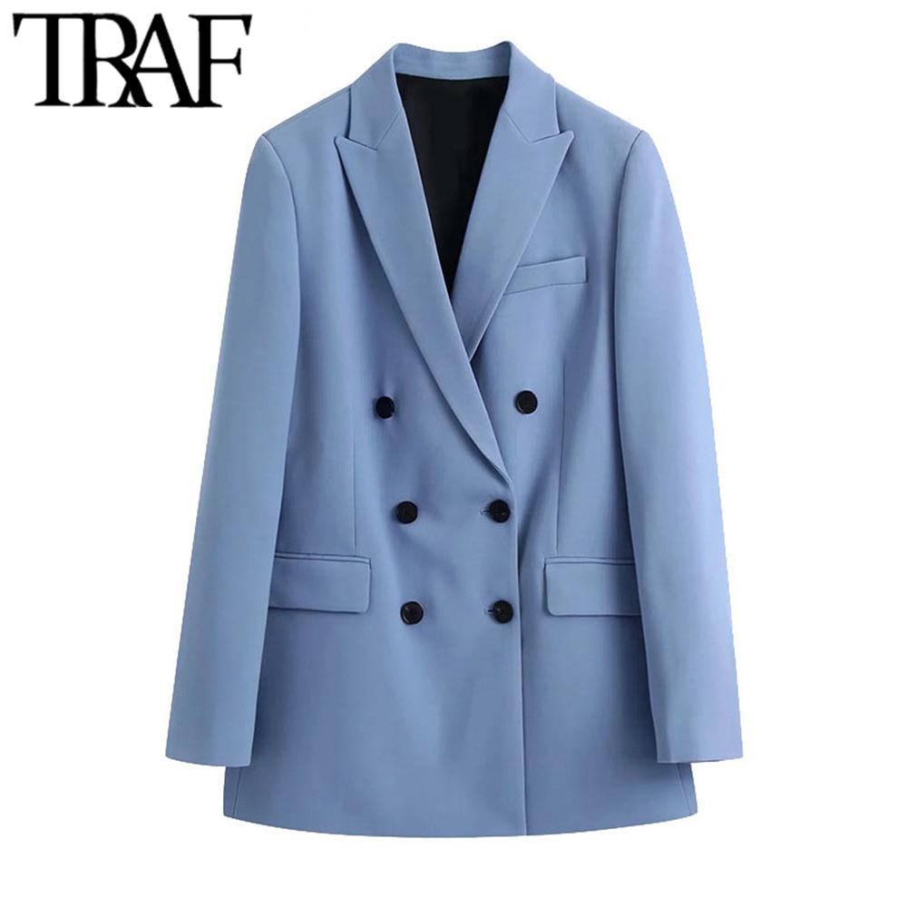 TRAF-سترة نسائية مزدوجة الصدر ، معطف عتيق ، أكمام طويلة ، جيوب ، ملابس خارجية أنيقة