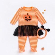 Toddler Rompers Baby Girls Boys Halloween Cosplay Costume Kid Dress Jumpsuit Pumpkin Printed Hallowe