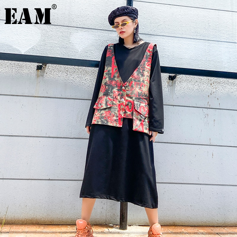 [EAM] vestido de diseño negro con estampado de talla grande nuevo cuello redondo manga larga ajuste suelto moda marea primavera otoño 2020 1Z214