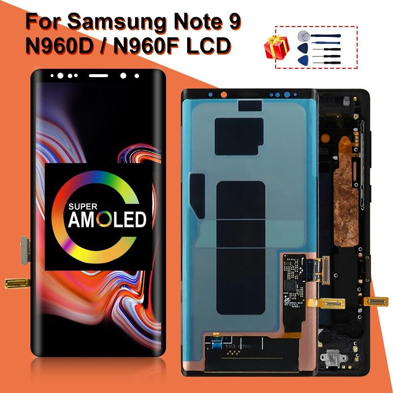 سوبر Amoled لسامسونج غالاكسي نوت 9 LCD عرض نوت 9 N960D N960F N960U LCD عرض تعمل باللمس محول الأرقام استبدال أجزاء