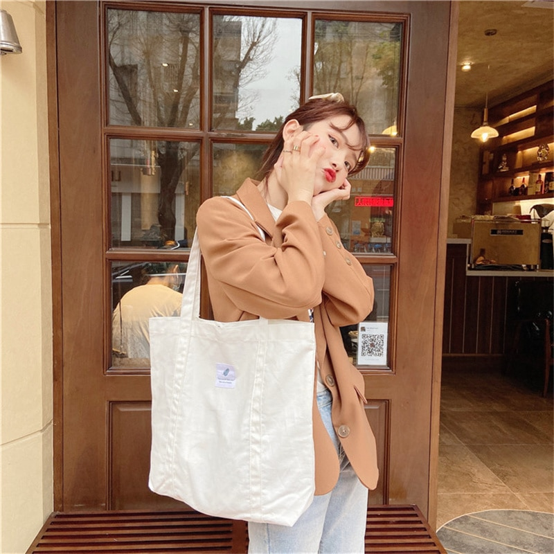Women Canvas Shoulder Bag Solid Color Ladies Shopping Bags Cotton Cloth Fabric Reusable Handbags Eco Tote Books Bag for Girls