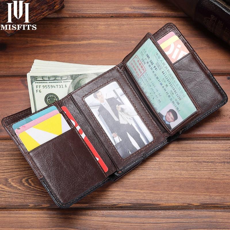 MISFITS Genuine Leather Trifold Men Wallets Vintage Hasp Short Purse Big Capacity Card Holder Coin P