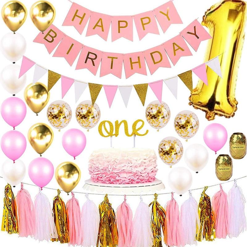 فتاة 1st عيد ميلاد حزب الديكور بالونات كعكة توبر الرسمي قبعة راية مجموعة كبيرة احباط الرقمية 1 الوردي موضوع استحمام الطفل بالون
