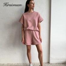 Hirsionsan-Conjuntos de algodón para mujer, camisetas informales de dos piezas de manga corta y pantalones cortos de cintura alta, chándal sólido, Verano