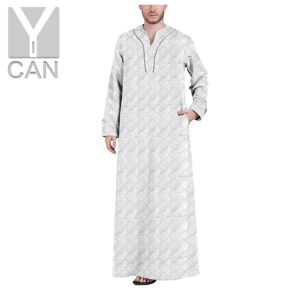 Y-CAN Men Robe Islamic Arabic Kaftan Muslim Fashion Long Sleeve Abaya Robes Clothing Row Buckle Jubba Thobe Cotton Y201005