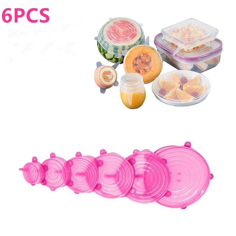 6 шт./компл., силиконовая крышка для сохранения свежести, крышка для герметизации пищевых продуктов, аксессуары для кухни, многоразовая защи...