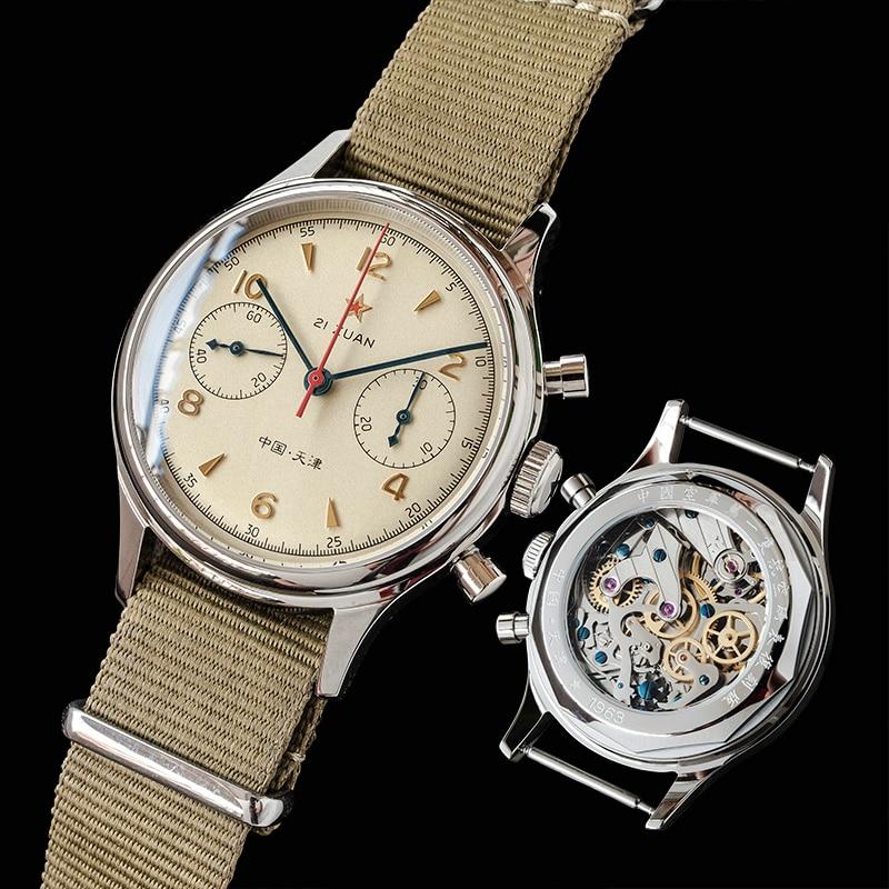 ساعة كرونوغراف طبعة محدودة Sugess Seagull 1963 ST1901 حركة كلاسيكية نسخة عسكرية الطيار الياقوت مقاوم للماء والماك...
