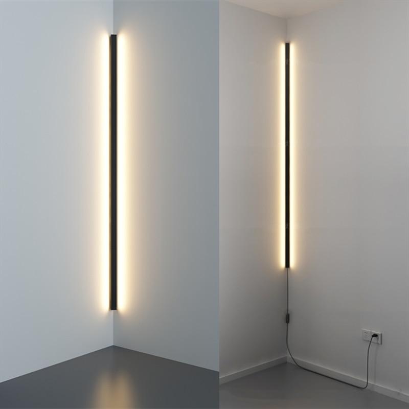 Lámpara de pared Led moderna con enchufe, sala de estar minimalista para lámpara de pared, dormitorio, decoración del hogar, luz de pared para esquina, accesorios
