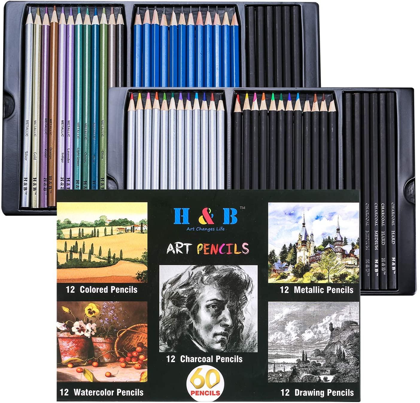 h b lapis coloridos e lapis de desenho conjunto 60 pecas lapis de artista profissional