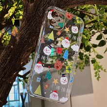 Cartoon Christmas phone case for iPhone 13 12 11 Pro Max 13 Mini transparent soft cover for iPhone 7