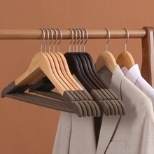 10Pcs/set Adult Extra-Wide Solid Wood and Metal Hook Wooden Hangers With Notches Non-slip Metal Hook for Clothes W4237