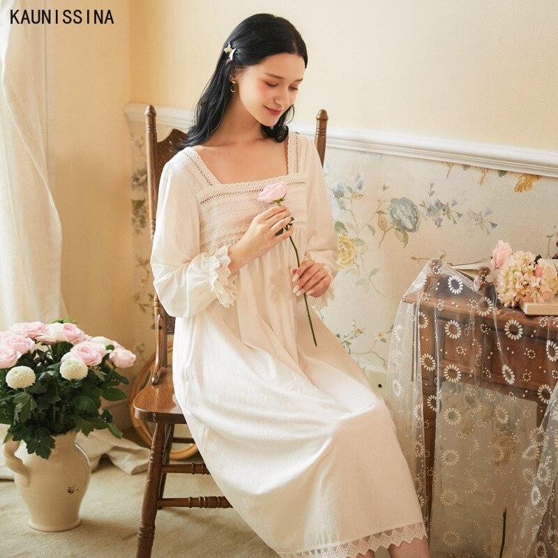 Vintage gola quadrada princesa algodão renda camisola vestido longo branco pijamas meados de bezerro primavera outono pijamas cozy sleepshirt