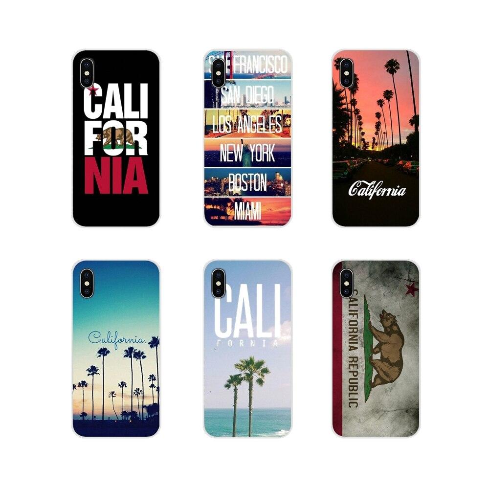 Para Samsung A10 A30 A40 A50 A60 A70 Galaxy S2 nota 2 3 Gran Core Prime California Palm árboles Patrón carcasa transparente TPU