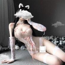 Japonais doux mignon femmes Sexy dentelle florale sans entrejambe body dames Sexy Lingerie Teddy body Ropa Sexy Para El Sexo