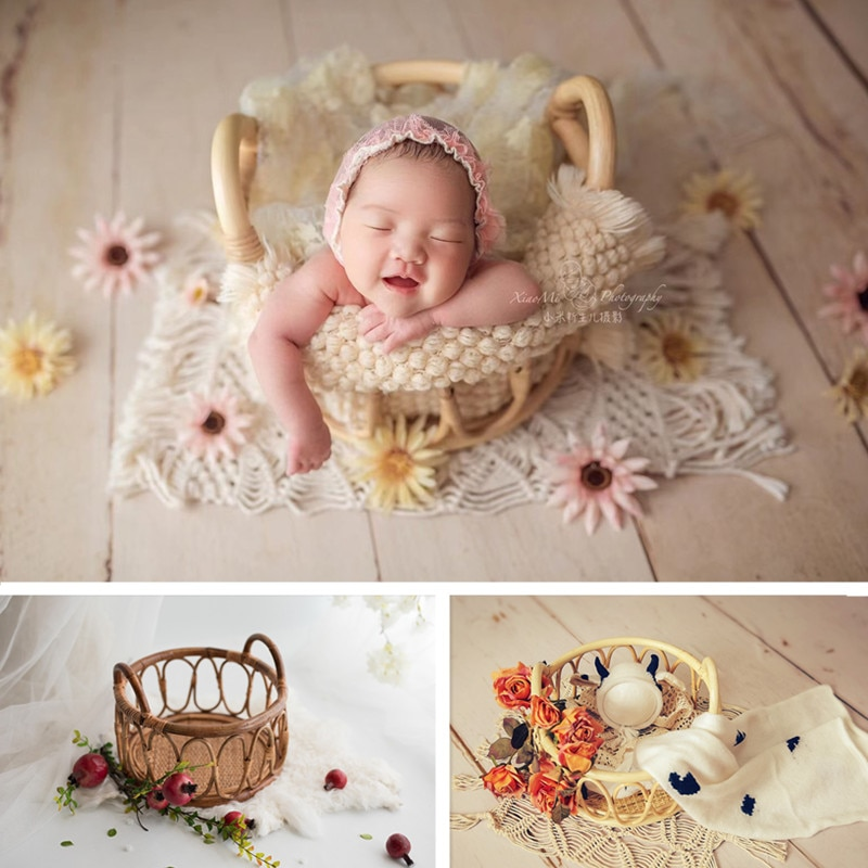 Newborn Photography Props Hand Made Retro Primary Color Rattan Basket Baby Photo Shoot Posing Bed Furniture Boy Girl Accessories
