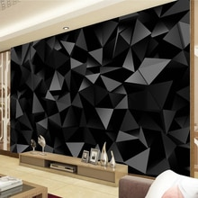 Custom Photo Wallpaper Mural Papel De Parede 3D Black Triangle Geometry Pattern Living Room TV Background Wall Murals Home Decor