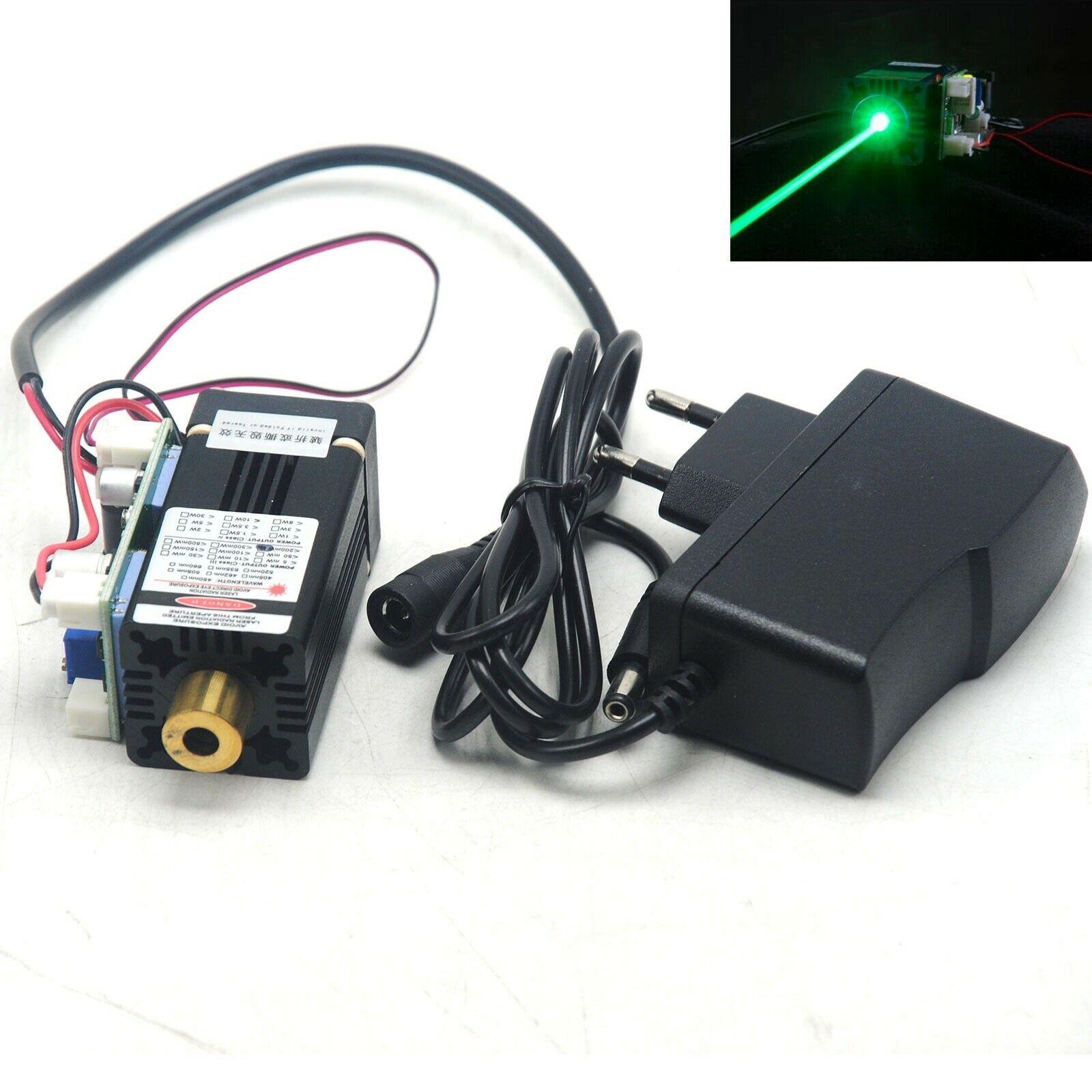 Focusable 515nm 520nm 100mW Dot Green Ray Laser Module Head w/12V Adapter & Fan