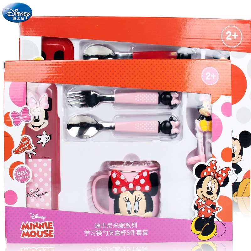 Original Disney Children's 5 Piece Set Cutlery Set Portable Learning Chopsticks Cup Fork Spoon Cartoon Infant Home Baby